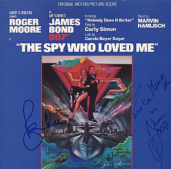 Spy Who Loved Me 1977 Soundtrack Dual signed